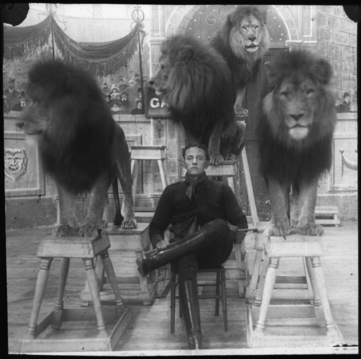 Vintage circus photo: lion tamer 1930s