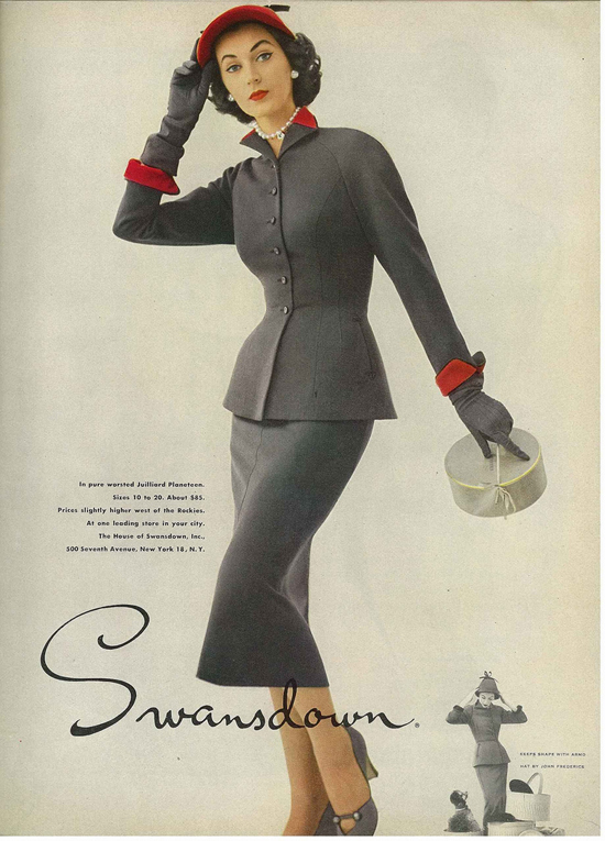 Dovima in a 1950s advert for Swansdown