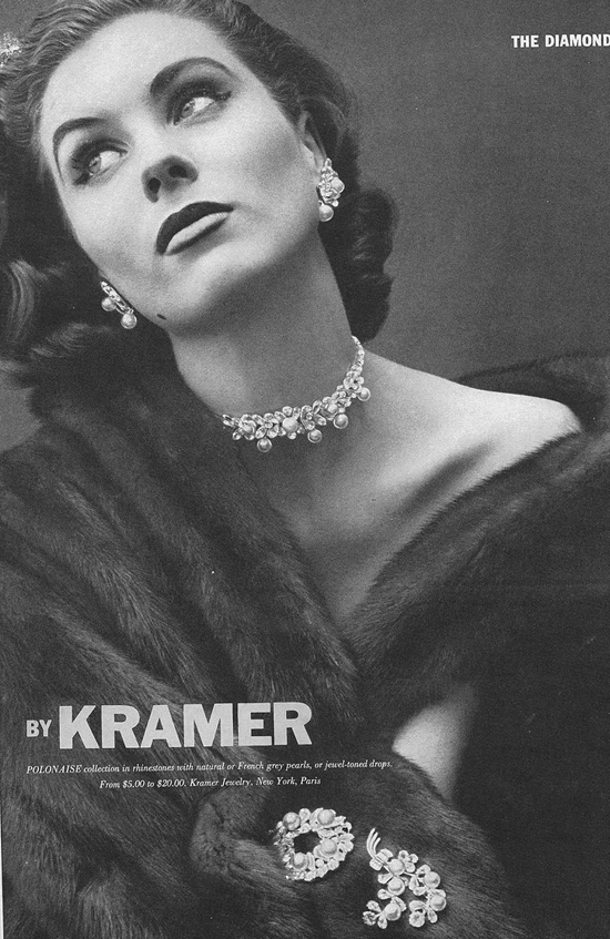 Suzy Parker advertises jewellery 1952 Vogue