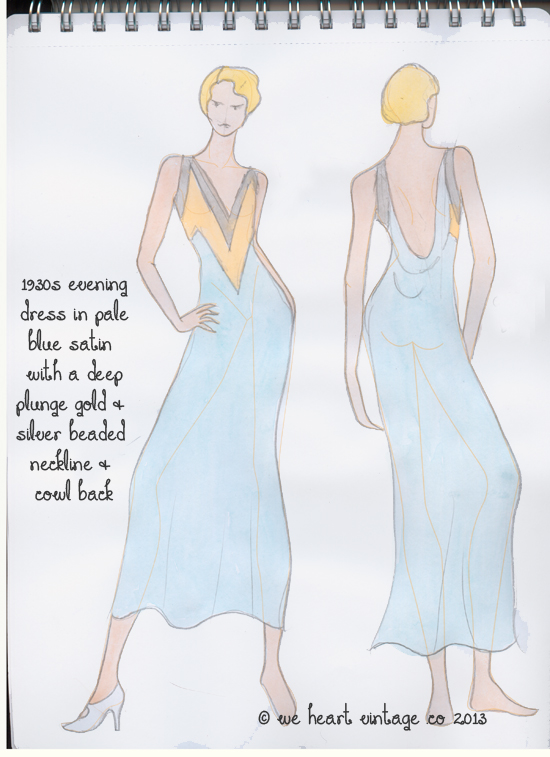 fashion design 1930s evening dress