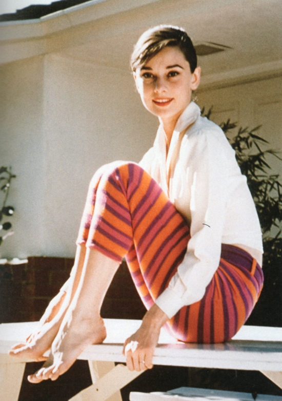 Audrey Hepburn in stripy leggings, 1960s