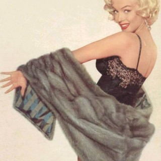 Marilyn Monroe in underwear and mink