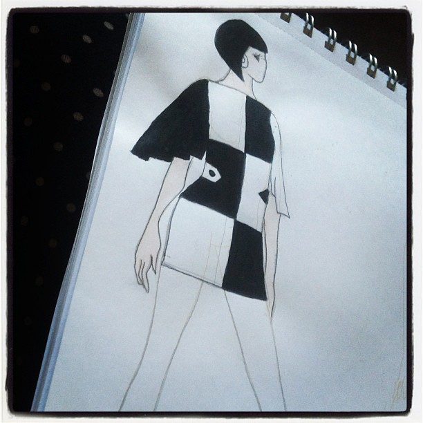1960s mod dress design sketch