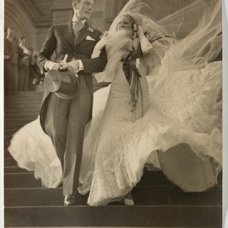 Vintage weddings: 1930s wedding dress on a windy day