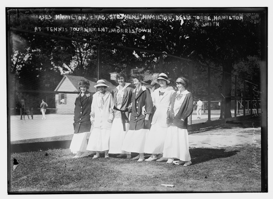 Ladies at a tennis tournament c. 1915