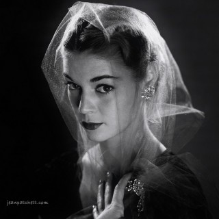 2 photos of Jean Patchett in a veil