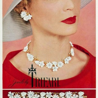 Jean Patchett in a 1950s Trifari jewellery advert