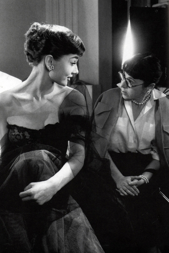 Audrey Hepburn chatting with Edith Head