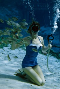 1950s swimsuit photographed underwater