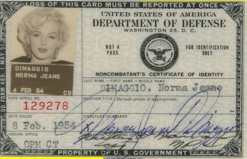 Marilyn Monroe's army ID card