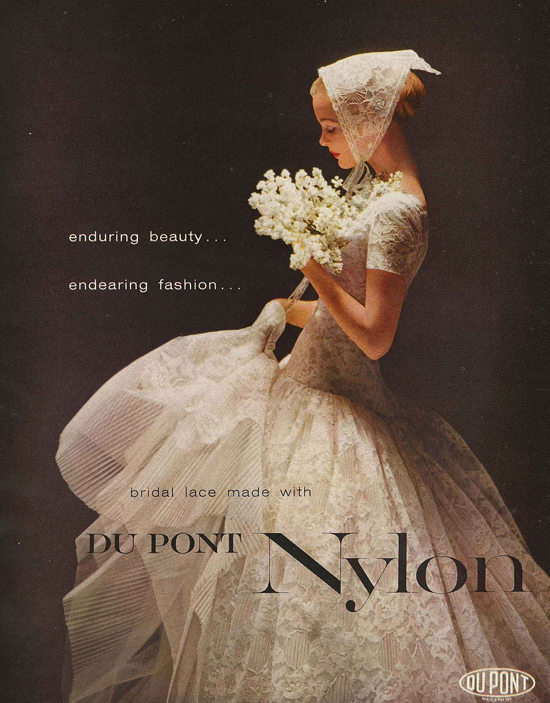 1950s nylon wedding dress