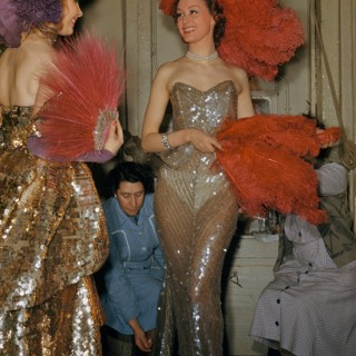 Backstage at Folies Bergere in Paris, 1950s