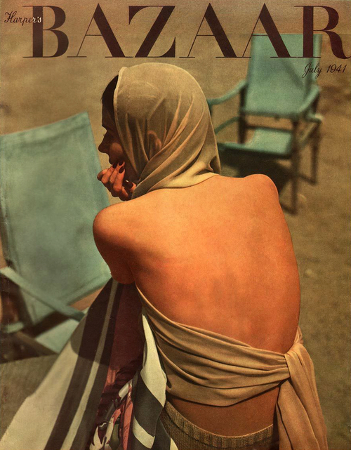 Backless fashions from 1940s Harper's Bazaar