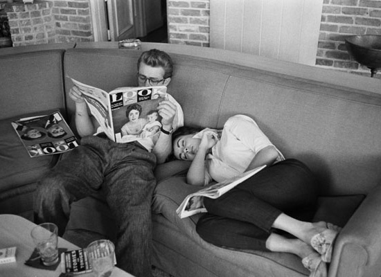 James Dean and Elizabeth Taylor Relaxing