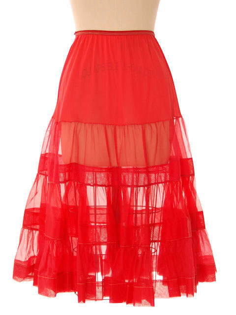Vintage Red Nylon Organdy Ruffled Full Petticoat 1950s