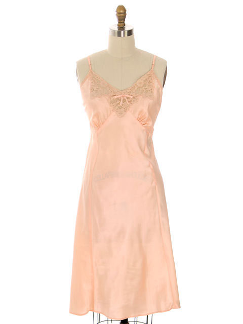 Vintage Full Slip Bias Cut Peach Rayon Satin w/ Lace & Bow Trim 1930s