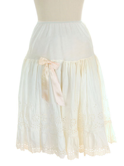Vintage Can Can Petticoat White Cotton Eyelet 1950s