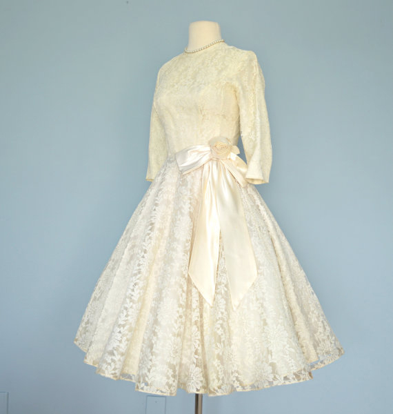 Vintage 1950s Short Wedding Dress