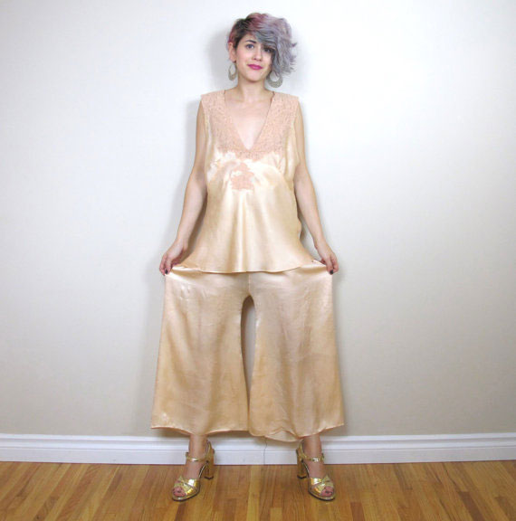 1920s Silk Pajamas Set