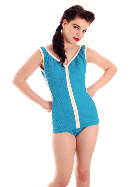 Vintage Womens Swimsuit One PC Turquoise Maillot Robby Len