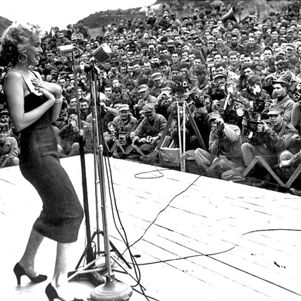 Marilyn Monroe entertaining the troops