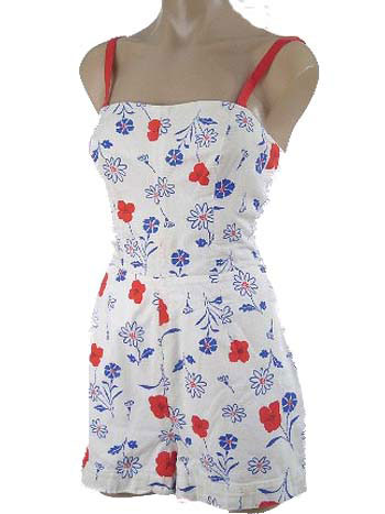 Vintage 60s Red White Blue Floral Print Playsuit/Swimsuit