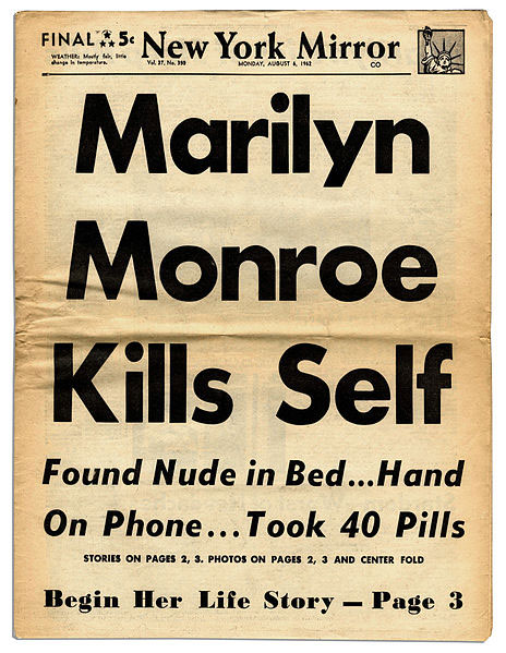 Marilyn Monroe death headlines
