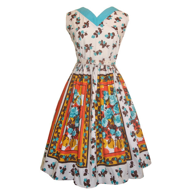 Fruit and roses 1950s belted cotton day dress